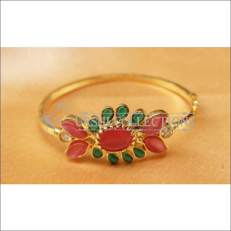 Designer Gold Plated Openable Kada UC-NEW1719 - Pink & Green - Bracelets
