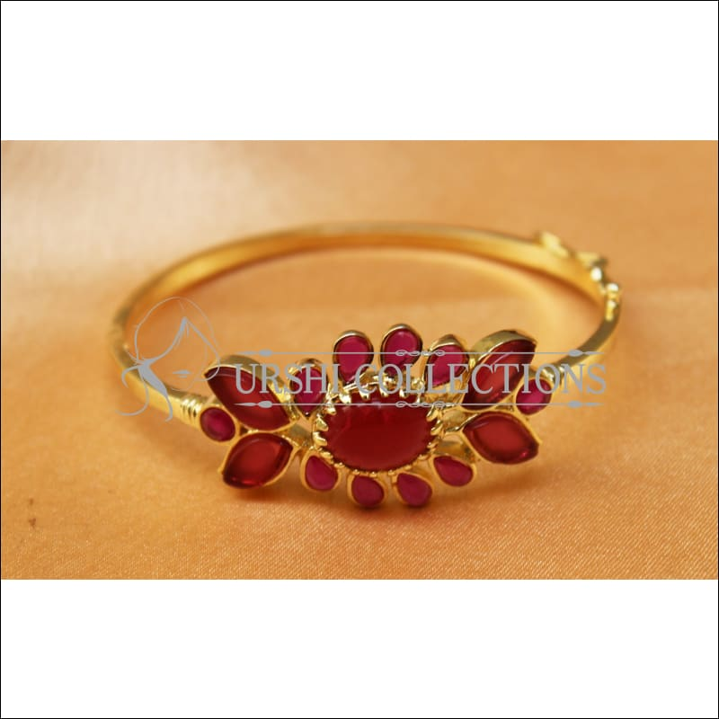Designer Gold Plated Openable Kada UC-NEW1719 - Red - Bracelets