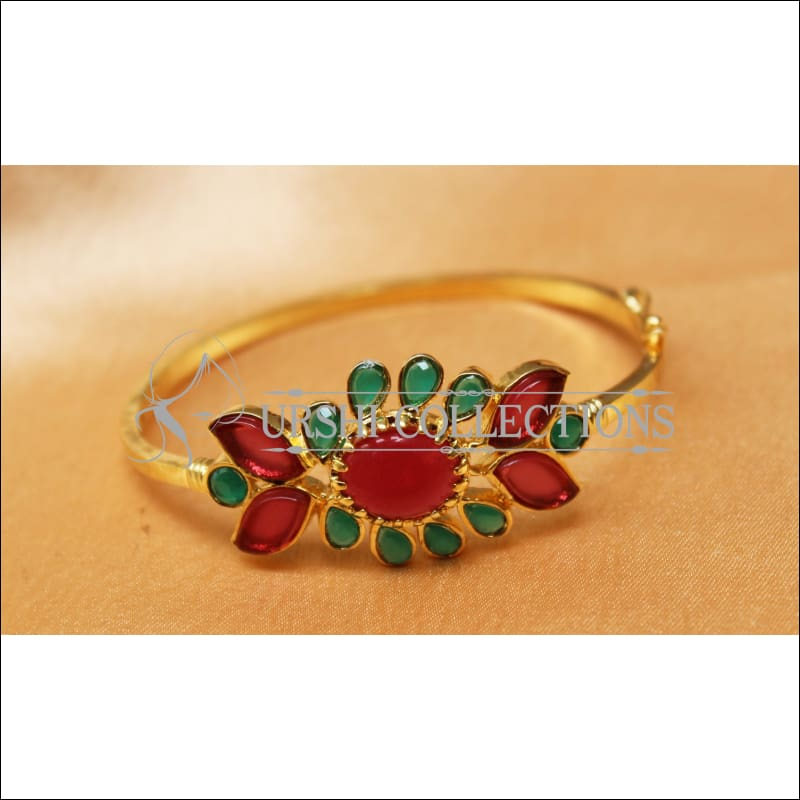 Designer Gold Plated Openable Kada UC-NEW1719 - Red & Gren - Bracelets