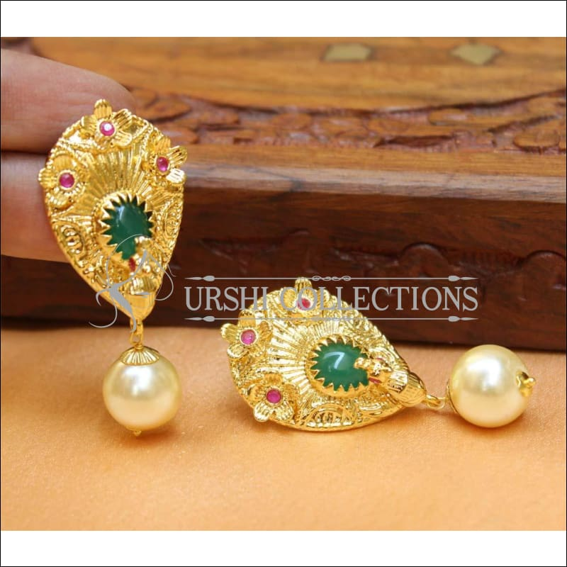 Designer Gold Plated Peacock Earrings UC-NEW400 - Pink & Green - Earrings