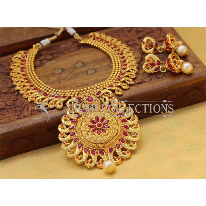 Designer Gold Plated Peacock Necklace Set UC-NEW764 - Red - Necklace Set