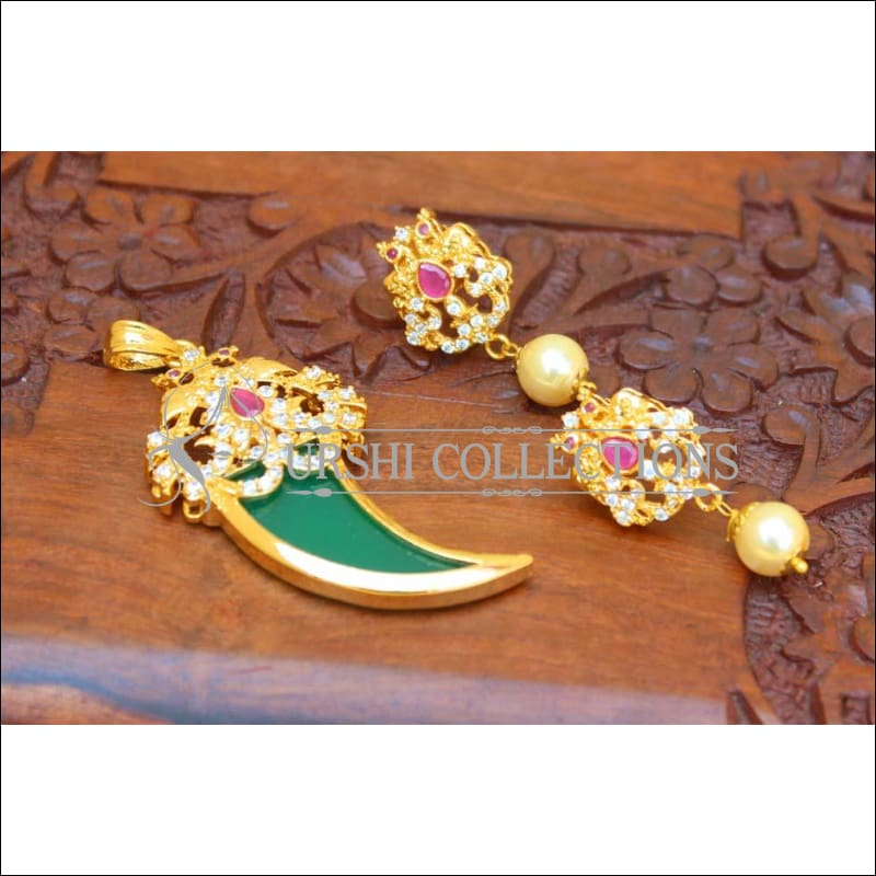 Designer Gold Plated Peacock Pendant Set UC-NEW1733 - Green & Pink - Pendant Set
