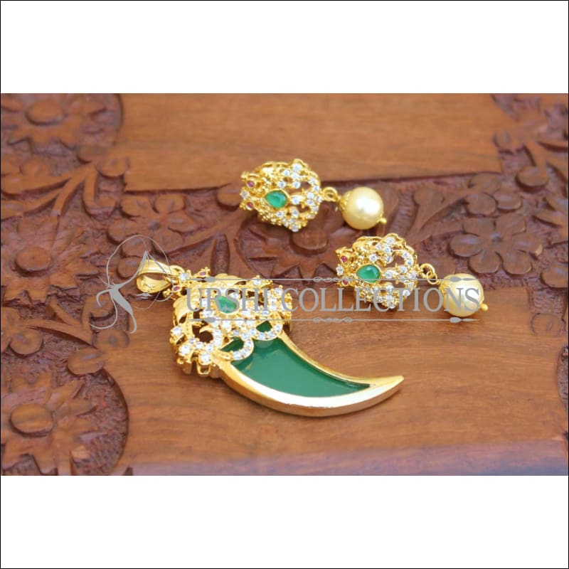 Designer Gold Plated Peacock Pendant Set UC-NEW1733 - Green - Pendant Set