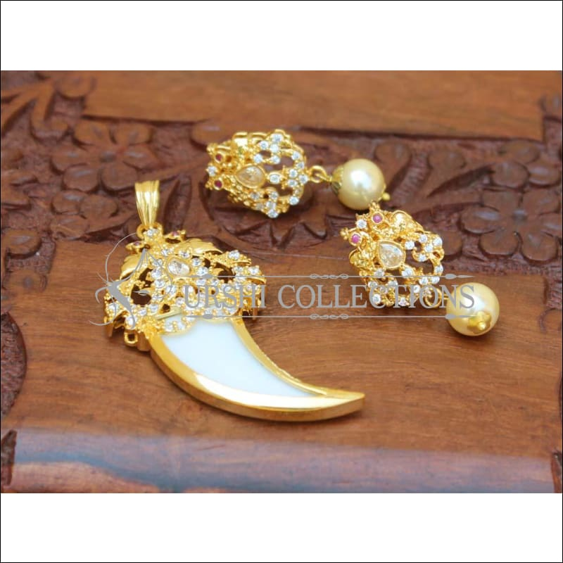 Designer Gold Plated Peacock Pendant Set UC-NEW1733 - White - Pendant Set