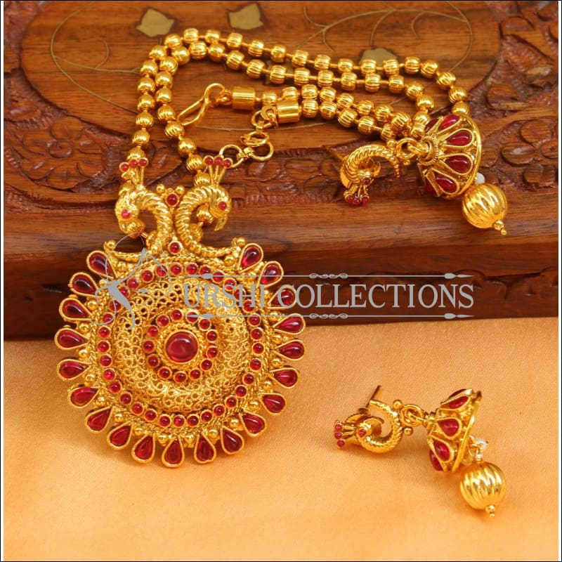 Designer Gold Plated Peacock Pendant Set UC-NEW2678 - Ruby - Pendant Set
