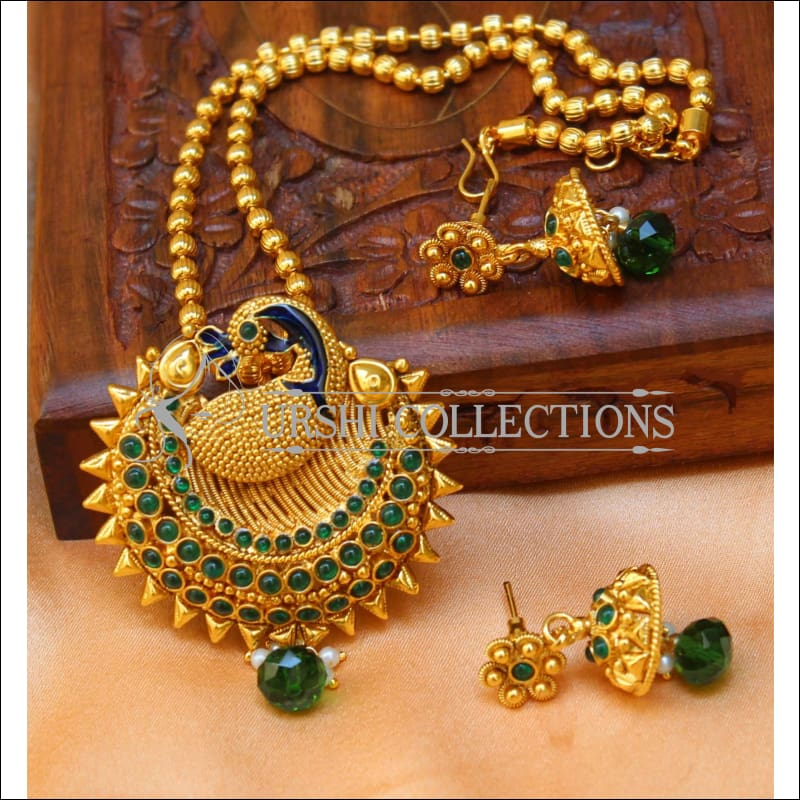 Designer Gold Plated Peacock Pendant Set UC-NEW2699 - Green - Pendant Set