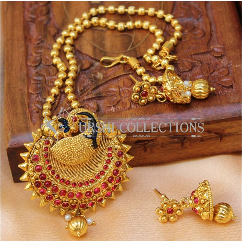 Designer Gold Plated Peacock Pendant Set UC-NEW2699 - Ruby - Pendant Set