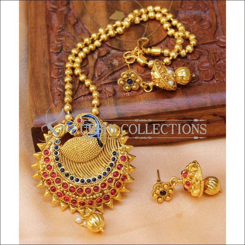 Designer Gold Plated Peacock Pendant Set UC-NEW2699 - Ruby&Blue - Pendant Set