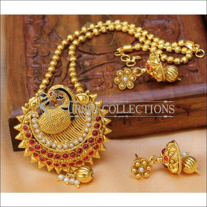 Designer Gold Plated Peacock Pendant Set UC-NEW2699 - Ruby&White - Pendant Set