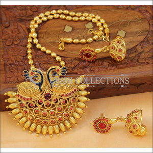 Designer Gold Plated Peacock Pendant Set UC-NEW2722 - Red - Pendant Set