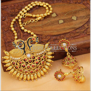 Designer Gold Plated Peacock Pendant Set UC-NEW2722 - Ruby&White - Pendant Set
