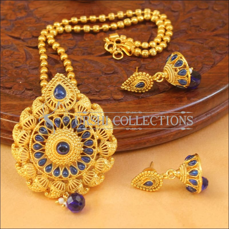 Designer Gold Plated Pendant Set UC-NEW1879 - Blue - Pendant Set