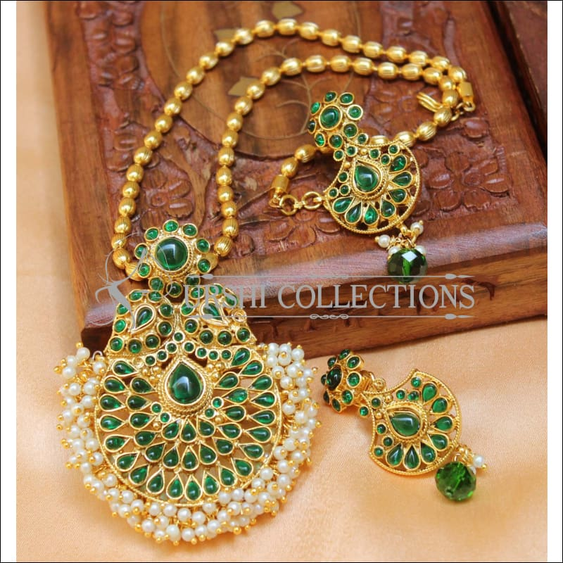 Designer Gold Plated Pendant Set UC-NEW2715 - Green - Pendant Set