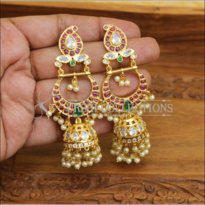DESIGNER GOLD PLATED REAL KEMPU EARRINGS UTV541 - Earrings