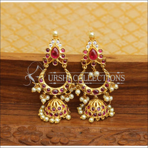 DESIGNER GOLD PLATED REAL KEMPU EARRINGS UTV543 - Earrings