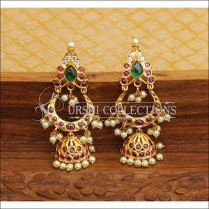 DESIGNER GOLD PLATED REAL KEMPU EARRINGS UTV544 - Earrings