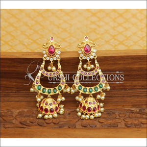 DESIGNER GOLD PLATED REAL KEMPU EARRINGS UTV547 - Earrings