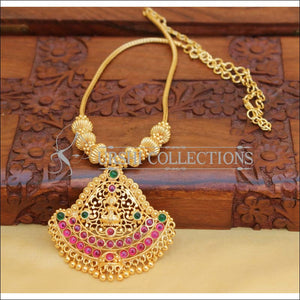 DESIGNER GOLD PLATED TEMPLE NECKLACE SET UC-2858 - Necklace Set