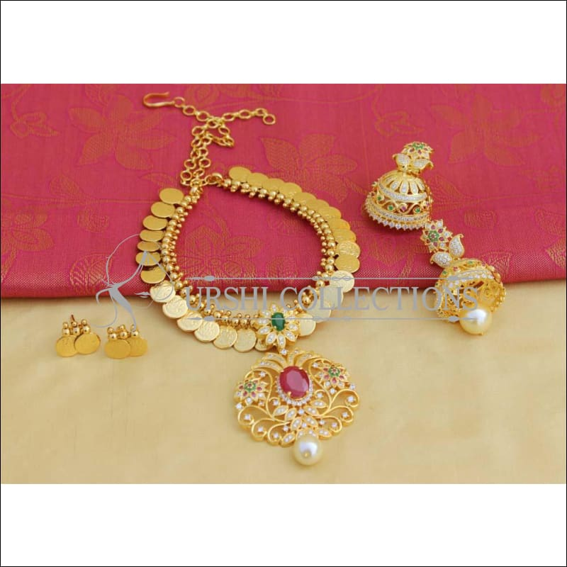 Designer Gold Plated Temple Necklace Set UC-NEW1451 - Multi - Necklace Set