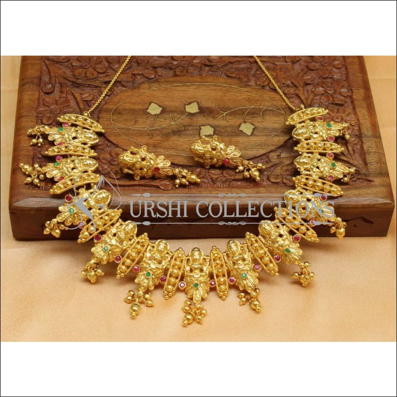 Designer Gold Plated Temple Necklace Set UC-NEW1483 - Necklace Set