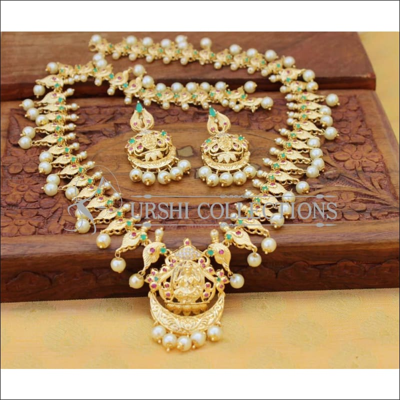 Designer Gold Plated Temple Necklace Set UC-NEW2538 - Multy - Necklace Set
