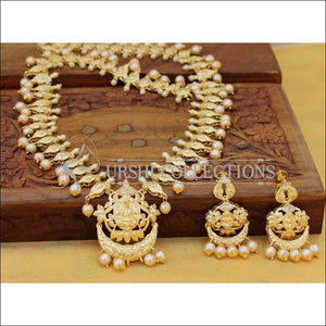 Designer Gold Plated Temple Necklace Set UC-NEW2538 - White - Necklace Set
