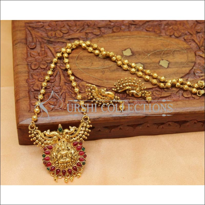 Designer Gold Plated Temple Pendant Set UC-NEW2030 - Multy - Pendant Set