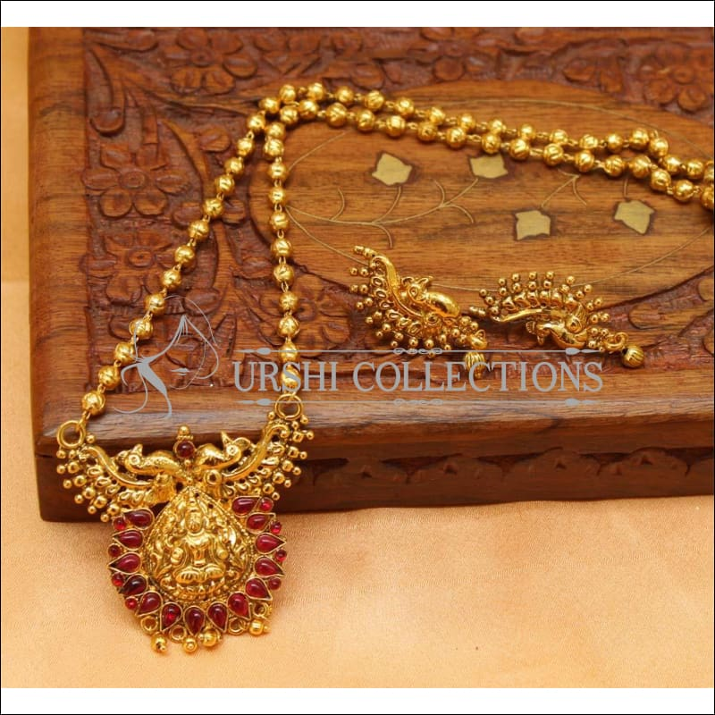 Designer Gold Plated Temple Pendant Set UC-NEW2030 - Ruby - Pendant Set