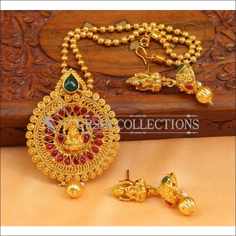 Designer Gold Plated Temple Pendant Set UC-NEW2496 - Multi - Pendant Set