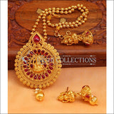 Designer Gold Plated Temple Pendant Set UC-NEW2496 - Red - Pendant Set