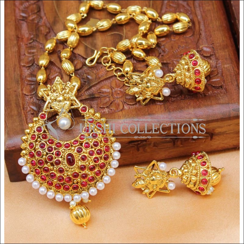 Designer Gold Plated Temple Pendant Set UC-NEW2650 - Ruby - Pendant Set