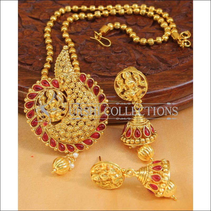 Designer Gold Plated Temple Pendant Set UC-NEW2665 - Ruby - Pendant Set