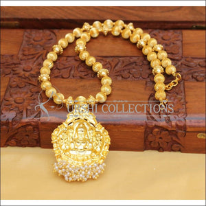DESIGNER HANDMADE GOLD PLATED TEMPLE NECKLACE SET UC-NEW2876 - Necklace Set