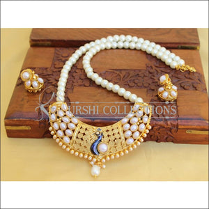 DESIGNER HANDMADE PEACOCK PEARL NECKLACE SET UC-NEW3279 - Necklace Set