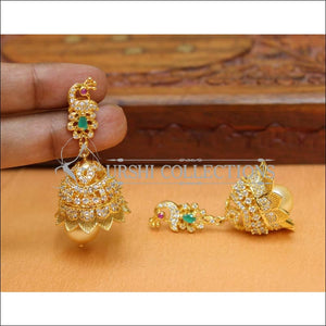 Designer Jhumkas CZ Earrings Set UC-NEW531 - Ruby and Green - Earrings