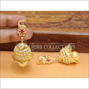 Designer Jhumkas CZ Earrings Set UC-NEW531 - Ruby - Earrings