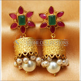 Designer Matte Finish Earrings Set UC-NEW654 - Ruby and Green - Earrings
