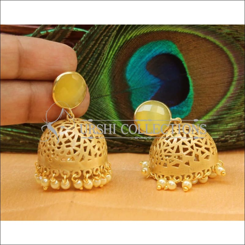 Designer Matte Finish Earrings Set UC-NEW665 - Yellow - Earrings