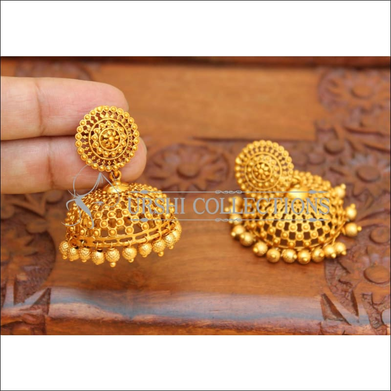 DESIGNER MATTE FINISH EARRINGS UC-NEW2836 - GOLD - Earrings