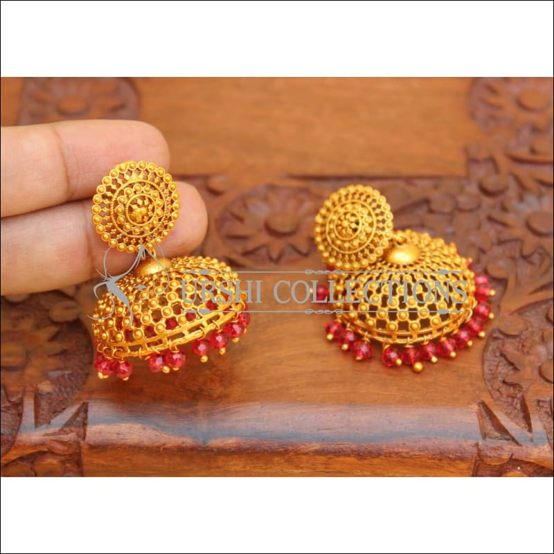 DESIGNER MATTE FINISH EARRINGS UC-NEW2836 - RED - Earrings