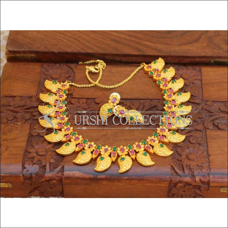 Designer Matte Finish Gold Necklace UC-NEW33 - green and red - Necklace Set