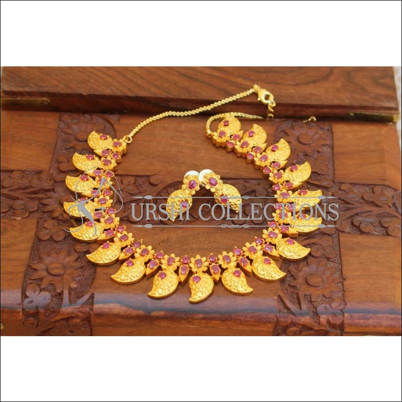 Designer Matte Finish Gold Necklace UC-NEW33 - red - Necklace Set