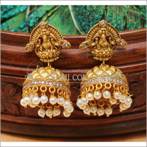 Designer Matte Finish Lakshmi Earrings Set UC-NEW2034 - White - Earrings