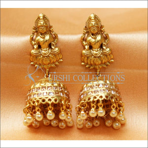 Designer Matte Finish Lakshmi Earrings Set UC-NEW2288 - Yellow Diamond - Earrings