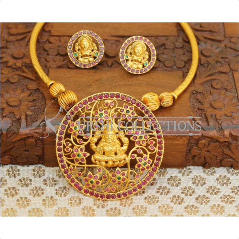 Designer Matte Finish Lakshmi Necklace Set UC-NEW1069 - Necklace Set
