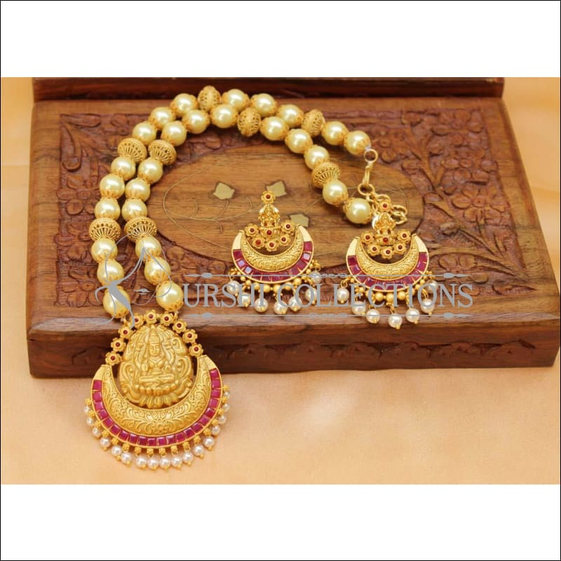 Designer Matte Finish Lakshmi Necklace Set UC-NEW1233 - Ruby - Necklace Set