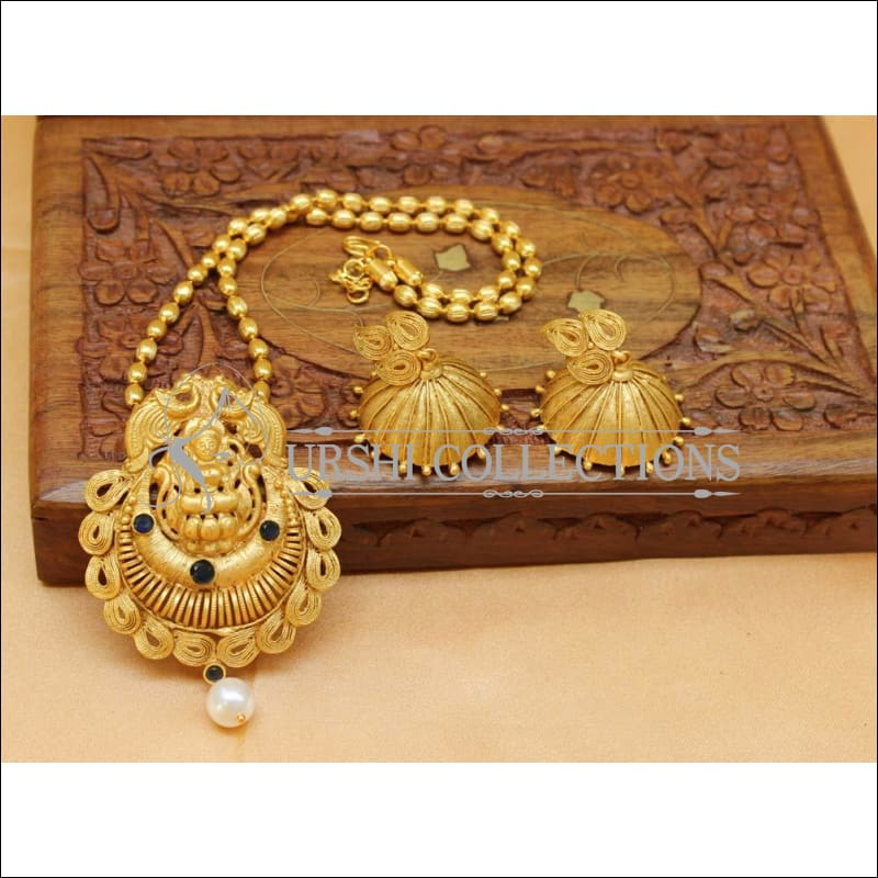 Designer Matte Finish Lakshmi Pendant Set UC-NEW1159 - Blue - Pendant Set