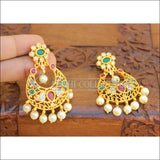 Designer Matte Finish Peacock Earrings Set UC-NEW2120 - Green &Red - Earrings