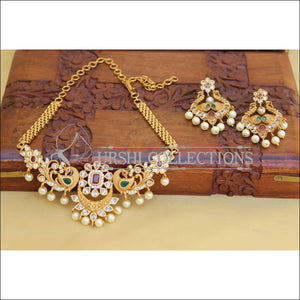 DESIGNER MATTE FINISH PEACOCK NECKLACE SET UC-NEW3079 - Necklace Set