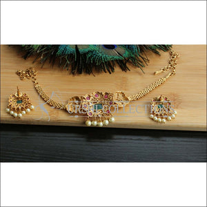 DESIGNER MATTE FINISH PEACOCK NECKLACE SET UC-NEW3287 - Necklace Set